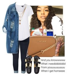 """slacking on making sets"" by wavyjai ❤ liked on Polyvore featuring Too Faced Cosmetics, Michael Kors, Topshop, Forever 21 and Chicnova Fashion"