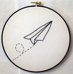 Paper Airplane #embroidery #airplane #paper #origami