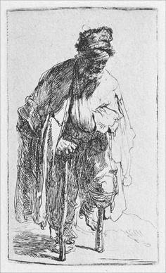 Mendigo com perna de pau. Gravura, 1630