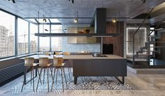 Industrial-kitchen-and-dining-table-wooden-slat-floor-metal-grey-L-shaped-window-framing.jpg 1,200×706ピクセル