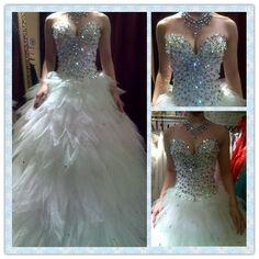 sparkling crystal wedding dress