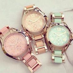 Jewels: watches gold feminine light blue pink dress