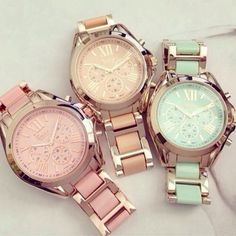 Jewels: watches gold feminine light blue pink dress