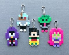 Geeky Party Favors I Gamer Gifts I Nerd Accessories by MadamFANDOM Diy Perler Beads, Perler Bead Art, Pearler Beads, Fuse Beads, Melty Bead Patterns, Pearler Bead Patterns, Perler Patterns, Beading Patterns, Pony Bead Crafts
