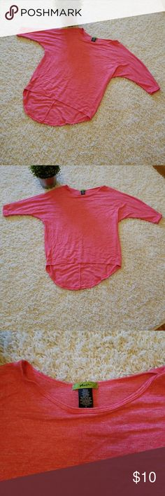 EUC  coral pink 3/4 sleeve thin high low top EUC  coral pink 3/4 sleeve thin high low top plush Tops