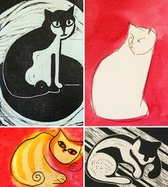 cat woodcuts