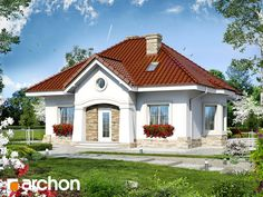 gotowy projekt Dom w lotosach (PD) Grand Entrance, Home Fashion, Villa, Mansions, House Styles, Home Decor, House 2, Mansion Houses, Homemade Home Decor