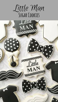 Little Man Black and White Baby Cookies - One Dozen (12) Decorated Sugar Cookies #affiliate