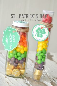 I'm calling these RAINBOW bottles instead!  St. Patrick's Day Gift Bottles and Free Printables via Amy Huntley (The Idea Room)  #stpatricksday