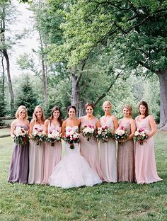 Bride with Bridesmaids in Mismatched Dresses | Brides.com