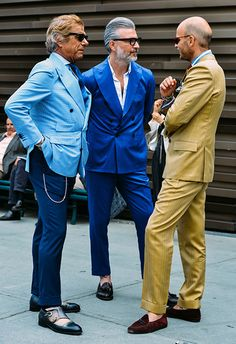 Dapper Older Men in Colorful Suits, Pitti Uomo, Men's Spring Summer Street Style Fashion.