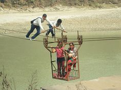 It's not easy to cross the river in Nepal. A photo taken at Dhading district by Sudeep Kaini in Kantipur.