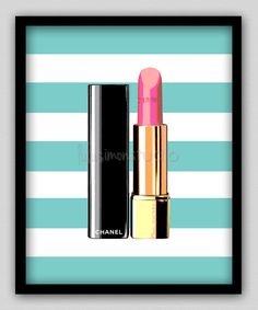 Wall Decor Print - Chanel Print - Modern Home Decor - Chanel Lipstick - Striped Background - 8x10