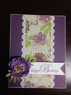 Handmade card, birthday handmade card, birthday card, purple, flower, happy birthday