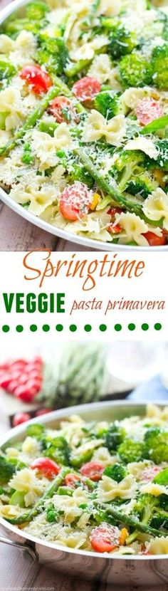 Loaded with a rainbow of springtime vegetables and lots of Parmesan, this garden-fresh pasta primavera is a delicious and healthy spring side dish! @Sarah | Whole and Heavenly Oven