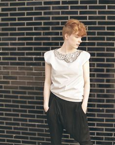 Pale Gray Cotton Shirt, Hand Painted Lace Collar