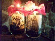 Mason Jar memories.. We used these for centerpieces for 80th Birthday party... made with sand, candle and your favorite photo printed out on copy paper loved ones love to share their stories about the photos, we also tied balloons on the ring of jar