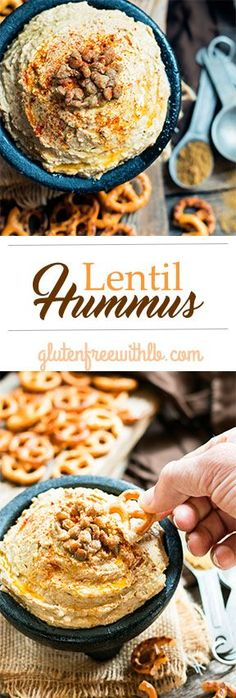 Lentil Hummus | A gluten free and vegan snack or appetizer recipe that is healthier than chickpea hummus!