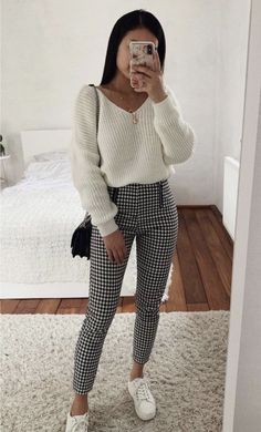 Cute Sweater Outfits, Plaid Outfits, Winter Fashion Outfits, Girly Outfits, Mode Outfits, Cute Casual Outfits, Fall Winter Outfits, Look Fashion, Spring Outfits
