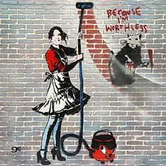 Lady cleaning wall/banksy Art Graffiti Graffiti-art Wall-art Stencil-art Banksy Urban-art by Ge Feng