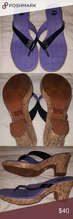 Timberland sandals Black leather strap cork heeled timberland sandals. Excellent condition! Timberland Shoes Sandals