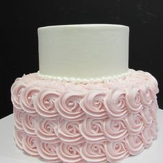 2 tier buttercream with pale pink rosette bottom Traditional Wedding Cakes, Rosettes, Pale Pink, Desserts, Tailgate Desserts, Deserts, Postres, Dessert, Plated Desserts