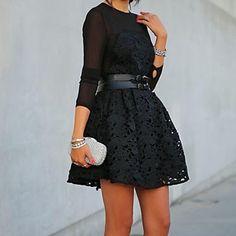malha flor de renda vestidos de preto a linha das mulheres – EUR € 24.23