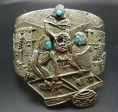 Navajo, Native American Jewelry, Wearable Art, Hand Carved, Cuff Bracelets, Turquoise, Artisan, It Cast, Sterling Silver