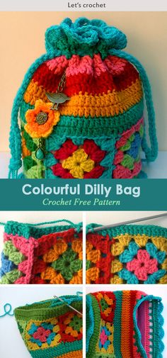 Crochet Color Flower Bag Purse Free Pattern This Crochet Dilly Bag Purse Free Pattern is a colorful and cute bag that's great for the outdoors. Make one now with the free pattern provided by the link below. Bag Crochet, Crochet Shell Stitch, Crochet Handbags, Crochet Purses, Crochet Beanie, Crochet Gifts, Quick Crochet, Flower Crochet, Purse Patterns Free