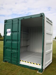 10ft steel #chemicalstore with steel raised mesh floor, drainage hole and sump. T: 0800 121 7388 for more info.
