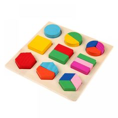 Wooden Math Toys Puzzle Baby Kids Learning Toy Preschool Jigsaw Early Childhood Education Montessori Game For Toddlers Children Montessori Preschool, Preschool Learning Toys, Preschool Education, Shape Puzzles, Maths Puzzles, Toddler Toys, Kids Toys, Learning Shapes, Games For Toddlers