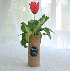 Burlap Bottle Gift Bag to personalize over by SouthHouseBoutique, $6.00