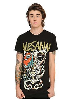 <p>Black T-shirt from Alesana with a large heart & ribs illustration design on front.</p>  <ul> 	<li>100% cotton</li> 	<li>Wash cold; dry low</li> 	<li>Imported</li> 	<li>Listed in men's sizes</li> </ul>