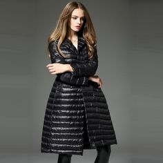 S-XL plus size Europe style long down coat warm winter coat women long skirt white duck down coats thin women down parka US $108