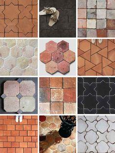 carrelage terre cuite tendance en formes formats et finitions variés #interior #design #bathroom #kitchen