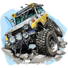 4x4 - CAR PAINTINGS BY GAVIN PATTERSON Toyota Cruiser, Fj Cruiser, 3d Racing, 4runner Limited, Offroader, Army Vehicles, Motorcycle Art, Car Drawings, Car Painting