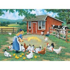 Bits and Pieces - 300 Piece Jigsaw Puzzle - Gather Round, Chickens on The Farm - by Artist John Sloane - 300 pc Jigsaw in Jigsaw Puzzles. Photo Vintage, Vintage Art, Country Art, Country Life, Farm Pictures, Chicken Painting, Image Nature, Farm Art, Country Scenes