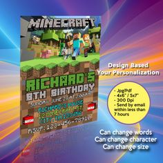 Your printable files will be delivered within 7 hrs or less! We personalize the invitation with your text, and you can print as many as needed. Minecraft Birthday Invitations, Chanel Flower, Lol Dolls, Pink Patterns, Graduation Gifts, Rsvp, White Ceramics, Wedding Gifts, Coffee Mugs