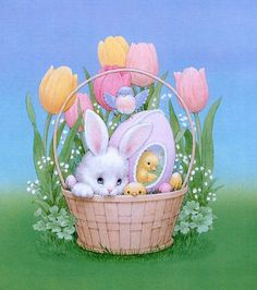 Заяц и птенцы в корзине