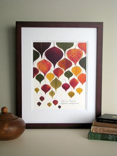 Pressed leaf print, double matted, Chinese Tallow tree leaves, bright fall colors, wall decor no. Leaf Flowers, Dried Flowers, Nature Crafts, Fall Crafts, Pressed Leaves, Framed Leaves, Pressed Flower Art, Idee Diy, Arte Floral