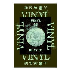 VINYL 45 RPM Record Black and Green Style 2 Poster   http://www.zazzle.com/teeshirtsplenty?rf=238806092629186307
