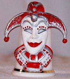 Collectable Fine Bone China Jester Mask Thimble