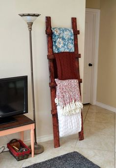 6 rustic wood throw ladder, crafts, home decor, how to, rustic furniture, woodworking projects