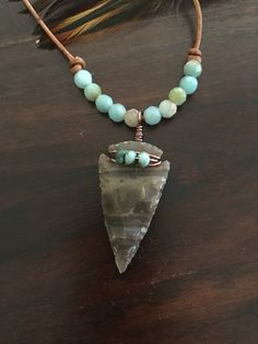 Amazonite beads, agate arrowhead and leather cord statement necklace by Haloren Equestrian
