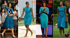 michelle obama turkusy Michelle Obama Fashion, Deep Winter, Diva Fashion, Dresses For Work, Turquoise, Dark, Green Turquoise