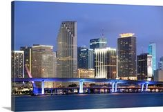 Solid-Faced Canvas Print Wall Art Print entitled Skyline of Miami, Florida Wall Prints, Poster Prints, Canvas Prints, Florida Sunshine, Dream Art, Large Canvas, Photo Canvas, San Francisco Skyline, Photo Art