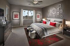 Bedroom red and grey Design Ideas, Pictures, Remodel and Decor