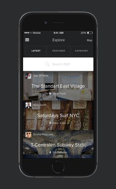 Pano 360º - UX/UI iOs app design: Explore screen