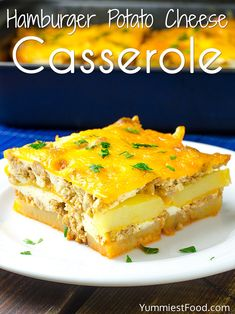 Hamburger Potato Cheese Casserole - Recipe from Yummiest Food Cookbook Cheese Potato Casserole, Cheese Potatoes, Cornbread Casserole, Casserole Dishes, Beef Recipes For Dinner, Cooking Recipes, Hamburger Recipes, Hamburger Dishes, Hamburger Casserole