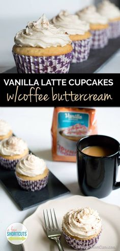 Vanilla Latte Cupcakes With Coffee Buttercream What is better than a cupcake flavored cup of coffee? How about coffee flavored cupcakes! Check out this yummy Vanilla Latte Cupcake Recipe with Coffee Buttercream! Brownie Desserts, Köstliche Desserts, Delicious Desserts, Yummy Food, Spanish Desserts, Birthday Desserts, Health Desserts, Yummy Yummy, Cupcake Flavors
